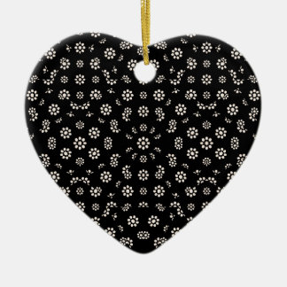 Dark Ditsy Floral Pattern Ceramic Ornament
