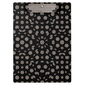 Dark Ditsy Floral Pattern Clipboard
