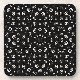 Dark Ditsy Floral Pattern Coaster