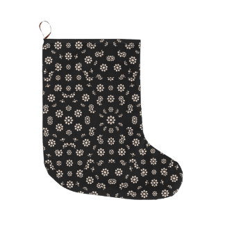Dark Ditsy Floral Pattern Large Christmas Stocking