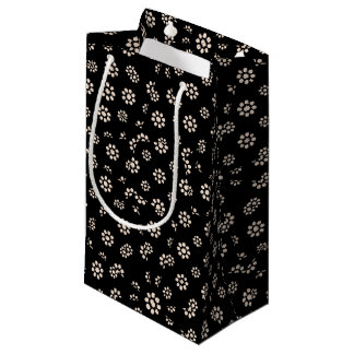Dark Ditsy Floral Pattern Small Gift Bag