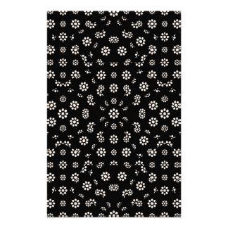 Dark Ditsy Floral Pattern Stationery