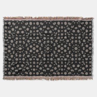 Dark Ditsy Floral Pattern Throw Blanket