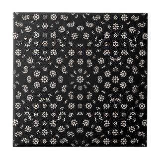 Dark Ditsy Floral Pattern Tile
