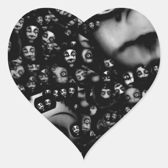 Dark dolls scary products heart sticker