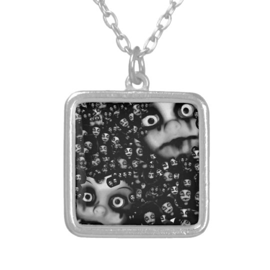 Dark dolls scary products silver plated necklace