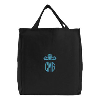 Dark Embroidered Monogram Canvas Tote Bag