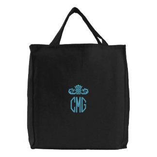 Dark Embroidered Monogram Canvas Tote Bag