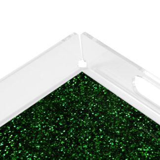 Dark Emerald Green Glitter Serving Tray