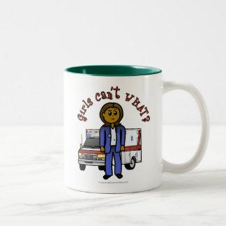Dark EMT Paramedic Girl Two-Tone Coffee Mug