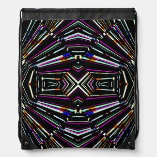 Dark Ethnic Sharp Bold Pattern Drawstring Bag