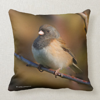Dark-Eyed Junco on a Limb Throw Pillow
