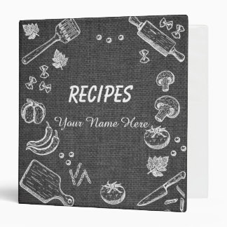 Dark Fabric Kitchen utensils recipe binder book