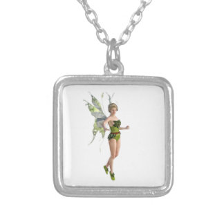 Dark Fairy Flying in Place Silver Plated Necklace