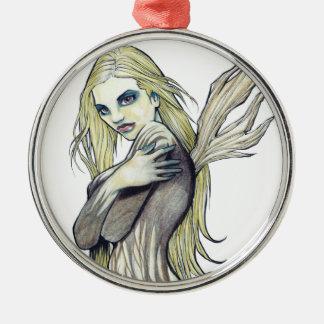 Dark Fairy Silver-Colored Round Ornament