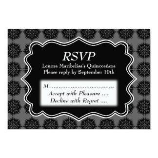 "Dark Fancy Pattern Black and Gray Quinceanera 3.5"" X 5"" Invitation Card"