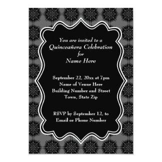 "Dark Fancy Pattern Black and Gray Quinceanera 5"" X 7"" Invitation Card"