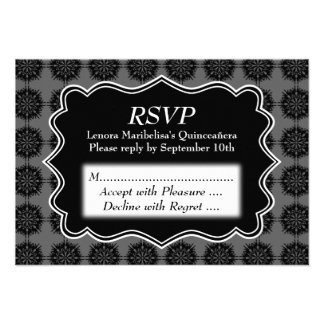 Dark Fancy Pattern Black and Gray Quinceanera Personalized Announcement