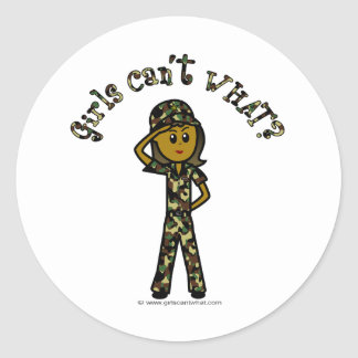 Dark Female Army Girl Round Sticker