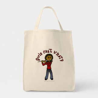 Dark Female Flute Player Canvas Bag