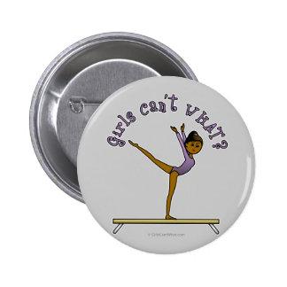 Dark Female Gymnast on Balance Beam 2 Inch Round Button