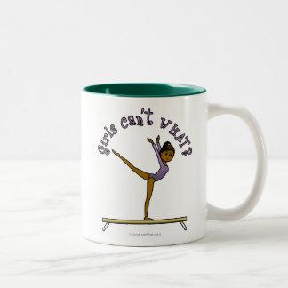Dark Female Gymnast on Balance Beam Two-Tone Coffee Mug