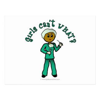 Dark Female Surgeon in Green Scrubs Postcard