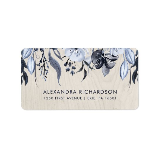 Dark Floral and White Wood Wedding Label