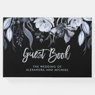 Dark Floral | Black Watercolor Wedding Guest Book