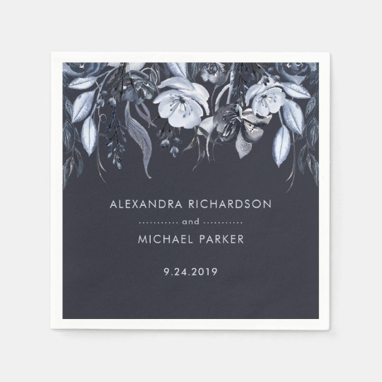 Dark Floral | Blue Watercolor Wedding Disposable Napkin