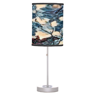 Dark Floral Collage Table Lamp