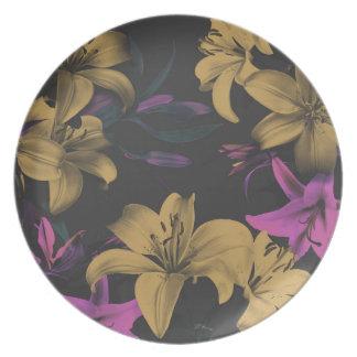 Dark Floral Melamine Plate