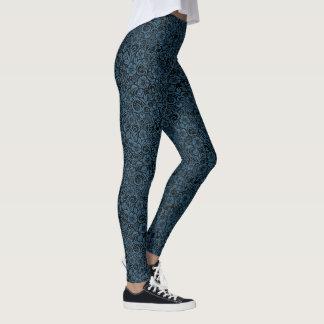 Dark Floral Pattern Blue and Black Leggings