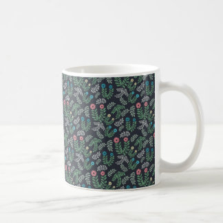 Dark floral pattern coffee mug