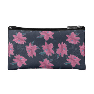 Dark floral pink lush flowers pattern cosmetics bags