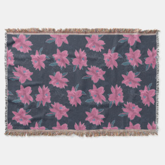 Dark floral pink lush flowers pattern throw blanket
