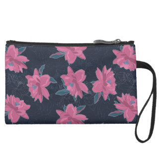 Dark floral pink lush flowers pattern wristlet clutch