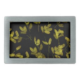 Dark Floral Print Rectangular Belt Buckles