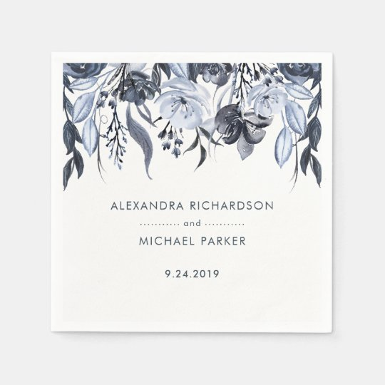 Dark Floral | Watercolor Wedding Disposable Napkin