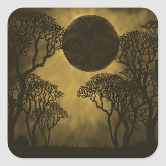 Dark Forest Eclipse Square Stickers, Golden Square Sticker