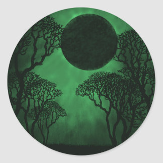 Dark Forest Eclipse Stickers, Green Round Sticker