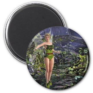 Dark Forest Fairy 2 Inch Round Magnet