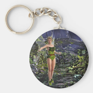 Dark Forest Fairy Basic Round Button Keychain
