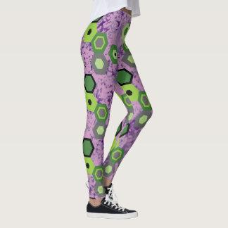 Dark Frantic Hexagon on Lavender! Leggings