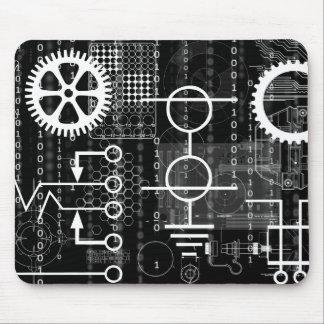 Dark Gears & Computer Code Mousepad