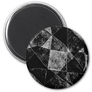Dark Geometric Grunge Pattern Print 2 Inch Round Magnet