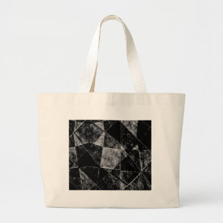 Dark Geometric Grunge Pattern Print Large Tote Bag