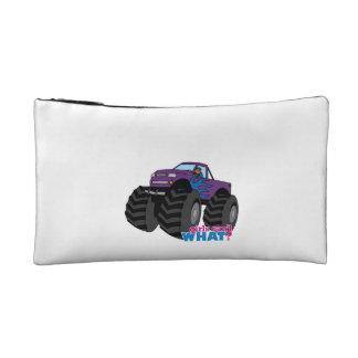 Dark Girl Driving Purple Monster Truck Makeup Bags