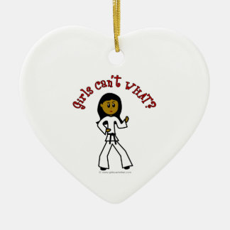 Dark Girl Martial Artist Ceramic Heart Ornament