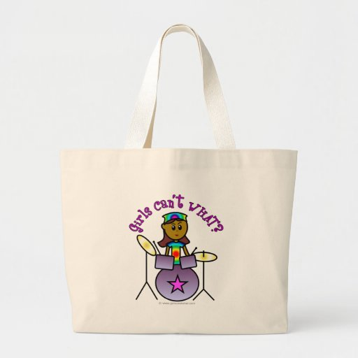 Dark Girl Playing Drums Canvas Bags